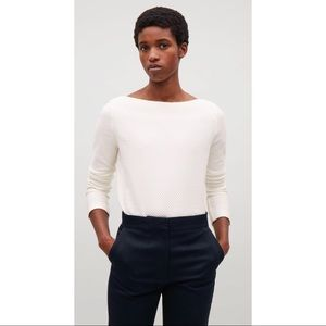 COS White Textured Top Three Quarter Sleeves